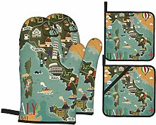PbbrTK Oven Mitts and Pot Holders Sets of