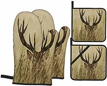 PbbrTK Oven Mitts and Pot Holders Sets of 4,Deer