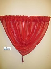 PCJ SUPPLIES RED VOILE SWAG TASSELED CURTAIN