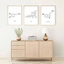 Peace Love Happiness Molecule Wall Art Canvas