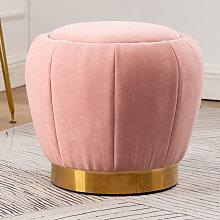 Peach Shape Velvet Footstool, Pink