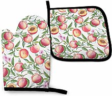 Peaches Branch Pink Cactus Succulents Oven Mitts
