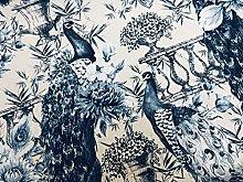Peacock Bird Fabric - Floral Peony Garden