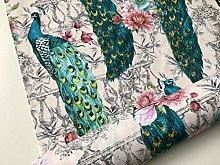 Peacock Bird Fabric - Floral Pink Peony Garden