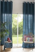 Peacock Blue Washed Linen Eyelet Single Curtain