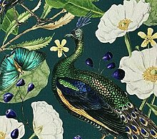 Peacock Butterflies Printed Cotton Fabric Sold by