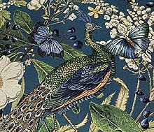Peacock Butterflies Woven Teal Fabric Sold by
