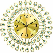 Peacock Diamond Iron Art Wall Clock Living Room