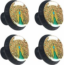 Peacock Feather Cabinets Knobs 4pcs for Home