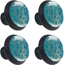 Peacock Feathers Pattern Cabinet Door Knobs