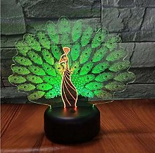 Peacock Open Screen 3D Visual Night Desk Lamp