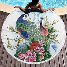 Peacock Printed Round Beach Towel Yoga Picnic Mat