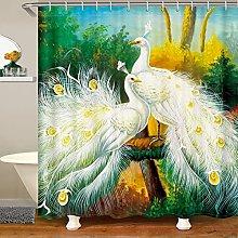Peacock Shower Curtain for Animal Bathroom Fabric