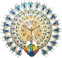 Peacock Wall Clock Decor,Large Wall Clocks for