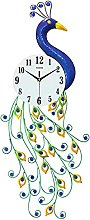 Peacock Wall Clock for Living Room,Large Peacock