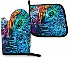 Peacocks Feather Oven Mitts and Pot Holders Sets