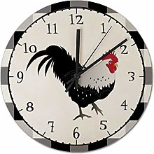 Pealrich 38 x 38 CM Wall Clock Rooster With Black
