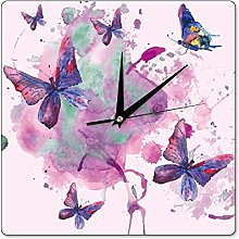 Pealrich Lilac Butterfly Square Wooden Wall Clock,