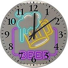 Pealrich Neon Effect Beer Bar Sign Wall Clock