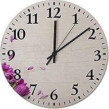 Pealrich Purple flowers Wall Clock Silent & Non