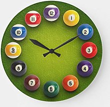 Pealrich Round Wooden Wall Clock, Billiards