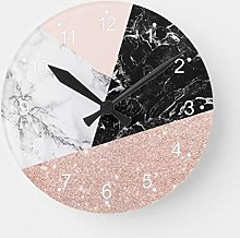 Pealrich Round Wooden Wall Clock, Black White