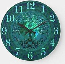 Pealrich Round Wooden Wall Clock, Blue Glow Yin