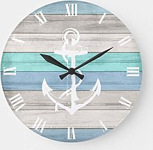 Pealrich Round Wooden Wall Clock, Blue & White