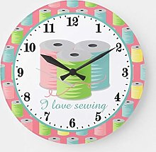 Pealrich Round Wooden Wall Clock, Cute I Love