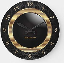 Pealrich Round Wooden Wall Clock, Elegant Black