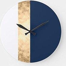 Pealrich Round Wooden Wall Clock, Elegant Faux