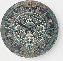 Pealrich Round Wooden Wall Clock, Mayan Calendar