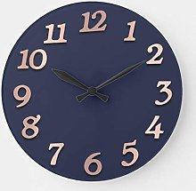 Pealrich Round Wooden Wall Clock, Minimal Arabic