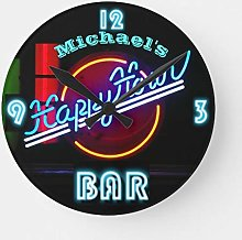 Pealrich Round Wooden Wall Clock, Neon BAR Clock