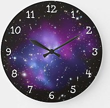 Pealrich Round Wooden Wall Clock, Purple Galaxy