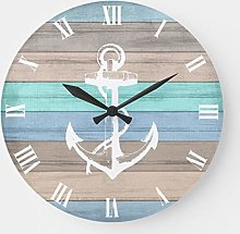 Pealrich Round Wooden Wall Clock, Rustic Beach