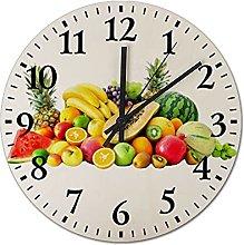 Pealrich Rustic Wall Decor Clock, Fruits Tropical