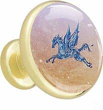 Pegasus Art 4 Piece Crystal Gold Knobs Round Metal