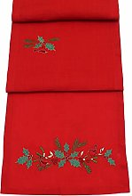 Peggy Wilkins Christmas Evergreen Red Embroidered