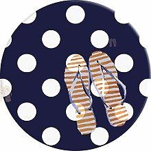 PEIGJH Round Area Rug, Navy Blue White Polka Dot