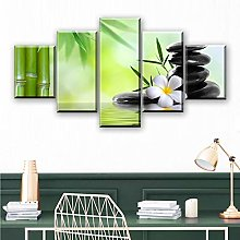 PEJHQY 5 Piece Canvas Artwork Canvas Bamboo zen
