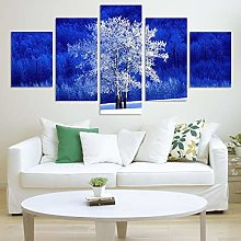 PEJHQY 5 Piece Modern Landscape Artwork HD White