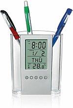 Pen Pen Holder Digital LCD Desk Alarm Clock Pen
