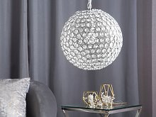 Pendant Ceiling Lamp Metal Silver Sphere Globe