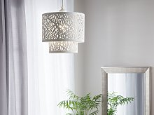 Pendant Ceiling Lamp White Double Patterned Metal