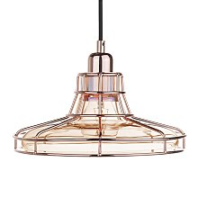 Pendant Ceiling Light Lamp Metal Cage Tinted Glass