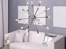 Pendant Lamp 18 Light Silver Metal Sputnik Glam
