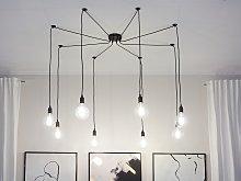 Pendant Lamp Black Metal and PVC 8 Lights Spider