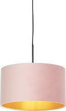 Pendant Lamp Black with 35cm Velvet Aged Pink