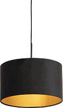 Pendant Lamp Black with 35cm Velvet Black Shade -